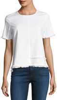 AG Jeans Tawny Raw-Edge Short-Sleeve Tee, White