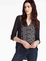 Lucky Brand Printed Woven Mix Henley