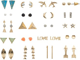 So Gold Tone Simulated Stone, Arrow & Bird Motif Nickel Free Stud Earring Set