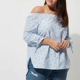 River Island Womens Plus blue star print tie sleeve bardot shirt