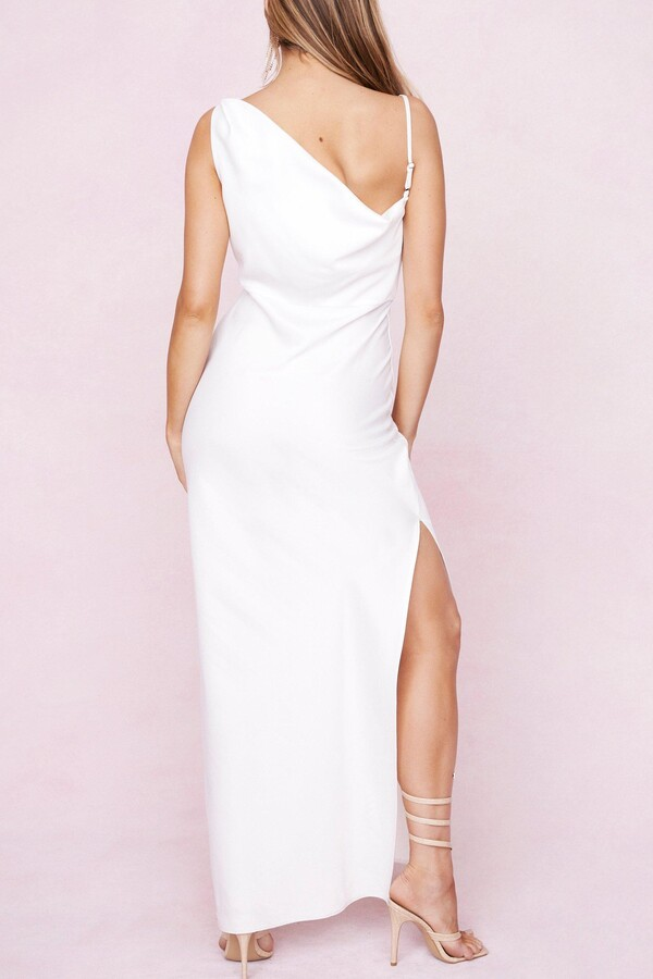Thumbnail for your product : Nasty Gal Womens One Shoulder Cowl Neck Satin Maxi Dress - White - 10