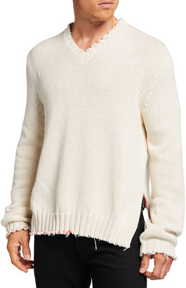 Maison Margiela Men's Destroyed V-Neck Sweater