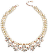 Charter Club Rose Gold-Tone Crystal and Imitation Pearl Necklace, Only at Macy's
