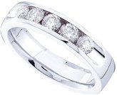 DazzlingRock Collection 0.78 Carat (ctw) 14K White Gold Round White Diamond 5-Stone Machine Set Stackable Wedding Band 3/4 CT