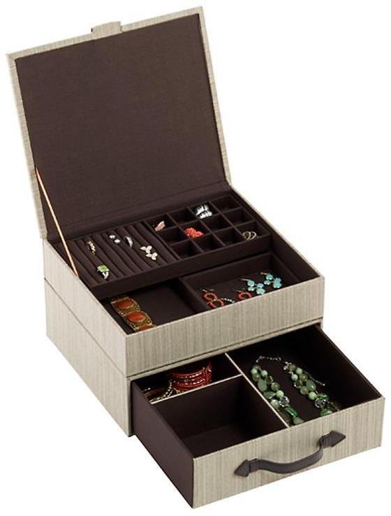 Container Store Parker Jewelry Box Latte