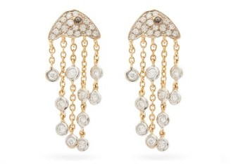 Yvonne Léon Diamond & 18kt Gold Jellyfish Earrings - Yellow Gold