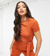 Club L London Tall ribbed t-shirt set with belt in orange