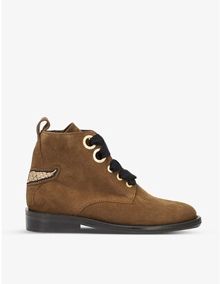 Zadig & Voltaire Laureen lace-up suede ankle boots