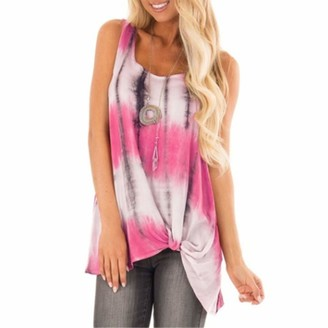 Wudube Tops WUDUBE Women's Striped O-Neck Sleeveless Vest Tank Knot Hem Loose Ladies Blouse Tops T Shirt Spring Summer Casual Short Sleeve Sexy Fashion Sports Running Tee Girls Plus Size Print T Pink