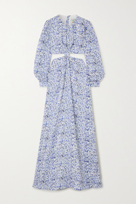 Agua Bendita Parana Cutout Floral-print Linen Maxi Dress - Blue