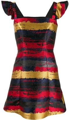 Three floor Bardot jacquard mini dress
