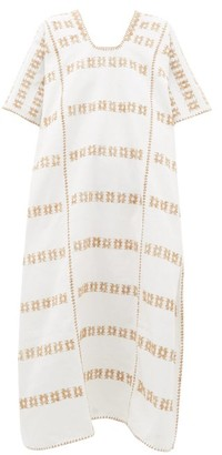 Pippa No. 30 Embroidered Cotton Kaftan - White Multi