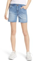 1822 Denim Distressed Long Mom Denim Shorts