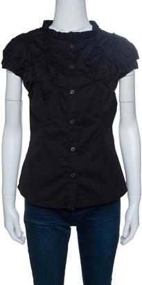 Prada Black Smocked Cotton Cap Sleeve Button Front Top S