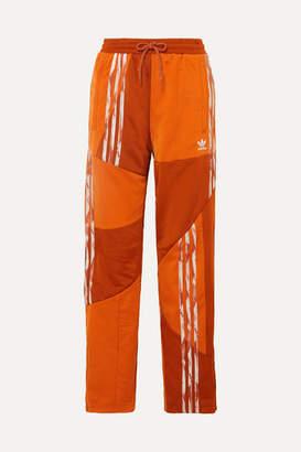 adidas + Danielle Cathari Striped Paneled Satin-jersey Track Pants - Orange