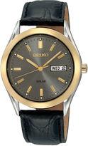 Seiko Mens Black Leather Strap Solar Watch SNE050