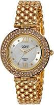 Burgi Women's Glamour Diamond Watch with White Mother of Pearl Centre Dial and Gold-Tone Bracelet BUR126YG