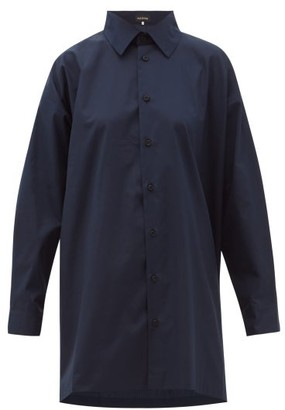 eskandar Longline Flared Cotton-poplin Shirt - Navy