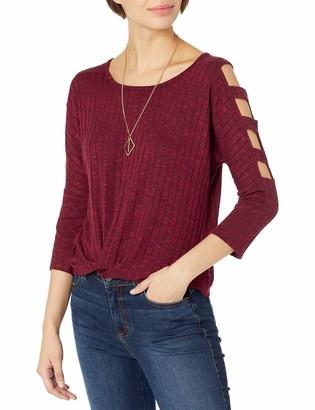 Amy Byer A. Byer Women's Lattice Sleeve Twist Front Top