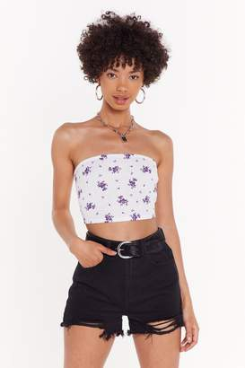 Nasty Gal Womens Ribbed Floral Print Bandeau - White - 6, White