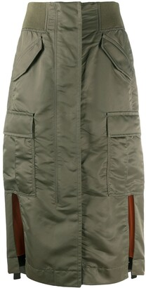 Sacai Nylon Cargo Pocket Midi Skirt