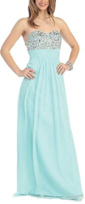 Mayqueen MayQueen Women's Special Occasion Dresses Aqua - Aqua Empire-Waist Cutout-Back Gown & Shawl - Women
