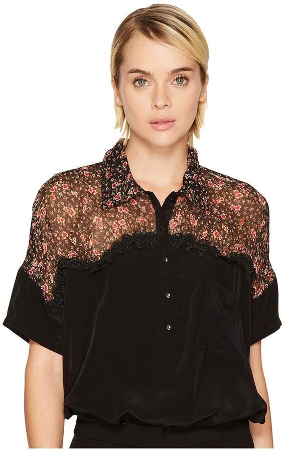 The Kooples Short Sleeved Bat-Style Polo Shirt Women's Short Sleeve Pullover