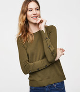 LOFT Petite Button Sleeve Sweater