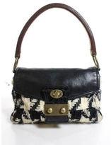 Miu Miu Black White Houndstooth Wool Handbag