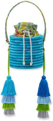 Maison Alma Monochrome Woven Straw Bucket Bag with Colorblock Tassels