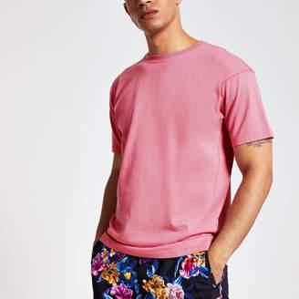 River Island Mens Bright Pink oversized T-shirt