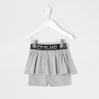 River Island Mini girls Grey RI cycling short skirt