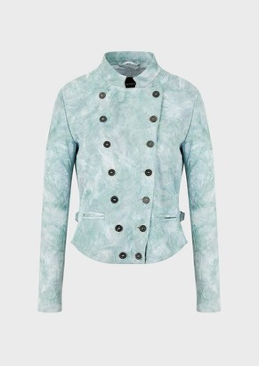 Emporio Armani Lambskin Nappa Leather Jacket With Micro-Perforations And Watercolour Look