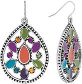Mudd Silver Tone Simulated Crystal Textured Teardrop Earrings
