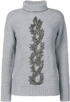 Jo No Fui embellished turtle neck sweater
