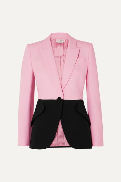 Alexander McQueen Two-tone Wool-blend Blazer - Pink
