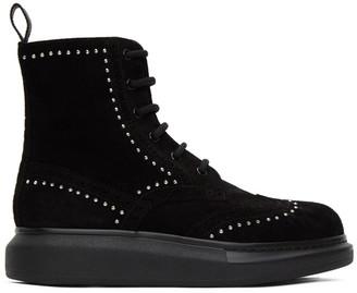 Alexander McQueen SSENSE Exclusive Black Suede Studded Hybrid Boots