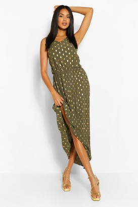 boohoo Foiled Spot Maxi Dress