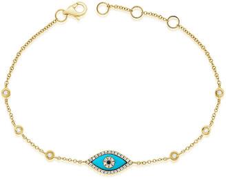 Sabrina Designs 14K 0.16 Ct. Tw. Diamond & Turquoise Evil Eye Bracelet