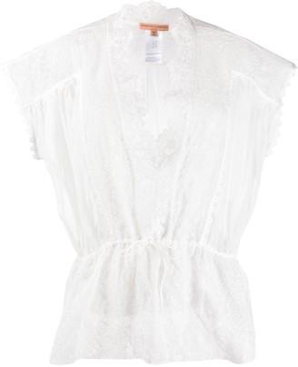 Ermanno Scervino scalloped lace trim blouse