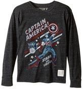 The Original Retro Brand Kids Captain America Long Sleeve Tri-Blend Tee (Big Kids)
