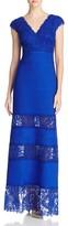 Tadashi Shoji Lace-Inset Pintuck Gown