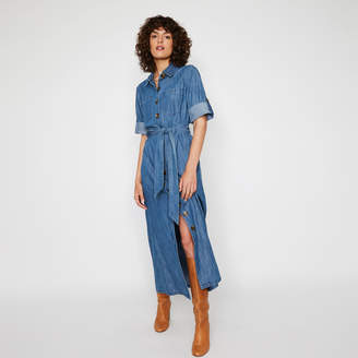 Warehouse MAXI DENIM SHIRT DRESS