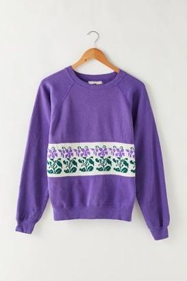 Urban Outfitters Vintage Vintage Purple Floral Craft Crew Neck Sweatshirt