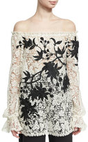 Naeem Khan Off-the-Shoulder Embroidered Floral Lace Top, Black/White