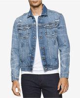 Calvin Klein Jeans Men's Destructed Sky Denim Trucker Jacket