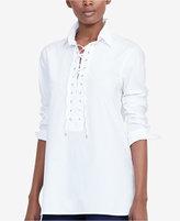 Lauren Ralph Lauren Lace-Up Broadcloth Tunic