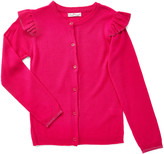 Pink Angel Girls' Cardigans Fuchsia - Fuchsia Ruffle-Shoulder Cardigan - Girls