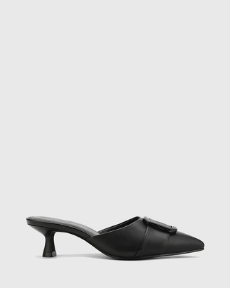 Wittner - Women's Black Stilettos - Gia Leather Buckle Trim Kitten Heel Mules - Size One Size, 36 at The Iconic