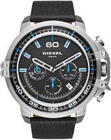Diesel Disel Deadeye Black Dial Blue Accents Chronograph Black Leather Strap Mens Watch